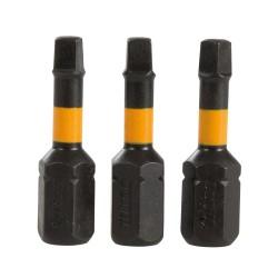 Puntas cuadradas para atornillador de impacto, 3 pzas R2, 25 mm