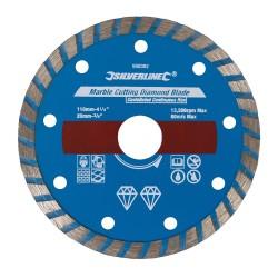 Disco para corte de mármol 110 x 2,7 x 20 mm, borde continuo acanalado