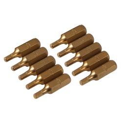 Puntas hexagonales 3 mm.  doradas, 10 pzas