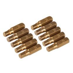 Puntas hexagonales 5 mm. doradas, 10 pzas