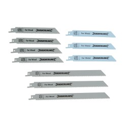 Hojas sierra sable, madera y metal, 10 pzas. HCS - 240 y 150 mm